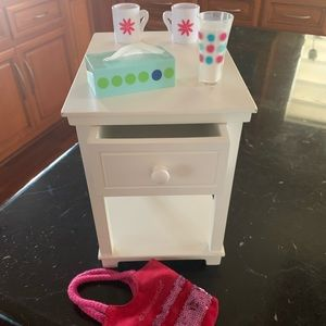 American Girl nightstand with accessories